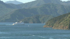 Picton ferry leaving, New Zealand Stock Footage