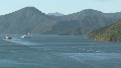 Ferries leaving harbor Picton, New Zealand Stock Footage