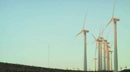 Stock Video Footage of Windmills Side Angle