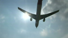 HD1080i Passenger jetliner overhead landing in airport. Amsterdam. Stock Footage