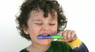Little boy washing teeth    Full HD 1080p Stock Footage