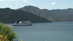 Ferry leaving Picton, New Zealand Stock Footage