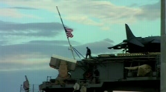 Stock Video Footage of USA american flag on warship