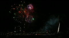 Fireworks Rotterdam Erasmus Bridge Stock Footage