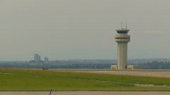 Aircraft, fast take off run Airbus past ATC Stock Footage