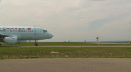 Stock Video Footage of aircraft, Airbus A319-114 taxi, wide shot