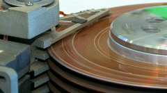 Vintage Hard Disc Drive HDD 1970s Early Version Read Write Handware Looping Stock Footage