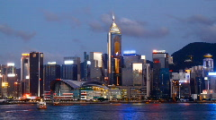 Hong Kong Victoria harbour and city  skyline at night - stock footage