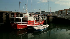 Fishing boats at the docks Stock Footage