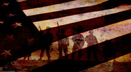US Military with US Flag Stock Footage
