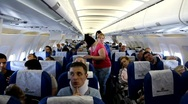 On board of airplane Stock Footage