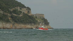 Red fishing boat Stock Footage