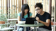 Asian Couple at the Cafe Stock Footage