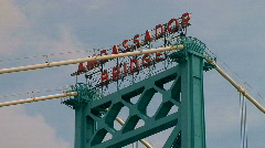 Ambassador Bridge between Detroit & Windsor,ON - stock footage