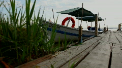 Boat moored at the pier - La Albufera Natural Park Stock Footage