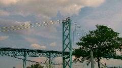 Ambassador Bridge between Detroit & Windsor,ON  Stock Footage