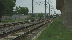 Light Rail Trains passing Stock Footage