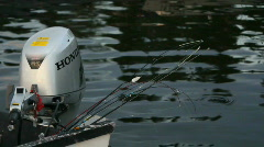 Fishing lines in boat with motor HD Stock Footage
