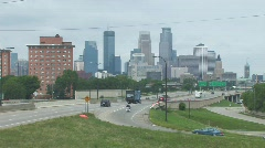 Highway traffic to Mpls - stock footage