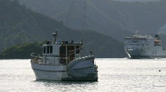 Ferry arriving in Picton, New Zealand Stock Footage