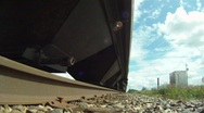 POV, train passing over, from side of track Stock Footage