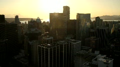 City skyline at sunset overview 3 - 7D Stock Footage