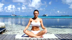 Beautiful woman resting near water at Maldives Stock Footage