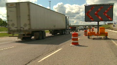 Trucking, traffic detour on busy freeway Stock Footage