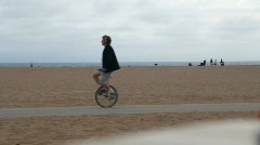 Beach Fitness 07: Unicycling - stock footage