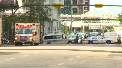 crime and justice, police and ambulance cordon - stock footage