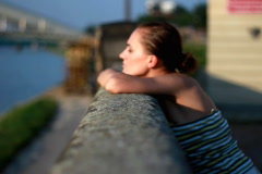 Pensive sad woman, zoom in Stock Footage
