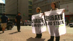 politics and protest, greenpeace protesters and Calgary tower - stock footage