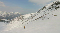 Camera following skier Stock Footage