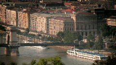 Pest Side from Buda 02 hungarian capital high angle Stock Footage
