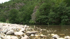 Canoe on the river tarn in France  Stock Footage