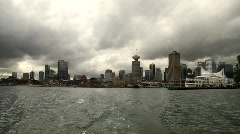Skyline seen from Ferry 3 - 7D Stock Footage