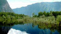 Lake in the mountains. Rain Stock Footage