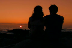 Romantic couple at sunset V6 - NTSC - stock footage