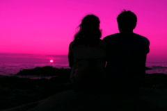 Romantic couple at sunset V2 - NTSC - stock footage