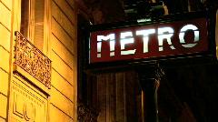 Illuminated Metro Sign Stock Footage