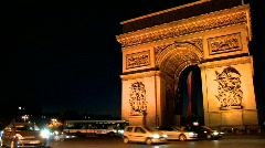 Arc de Triomphe at Night Stock Footage