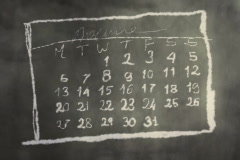 Calendar Month Page Scribbling on a Chalkboard NTSC - stock footage