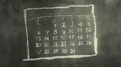 Calendar Month Page Scribbling on a Chalkboard HD - stock footage