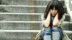 Asian Girl Alone Stock Footage