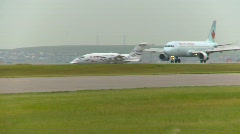 Aircraft, Airbus A319 fast after landing, brakes applied Stock Footage