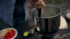 T203 cooking outdoor camping camp propane stove Stock Footage