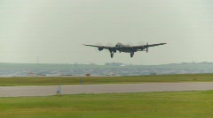 Aircraft,  WWII Lancaster bomber, #24 takeoff, unobstructed Stock Footage