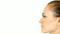 Profile of beautiful young woman's face Stock Footage