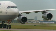Stock Video Footage of aircraft, Airbus A340 taxi close up