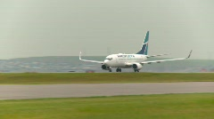 Aircraft, Boeing 737 takeoff, #10 long shot follow Stock Footage